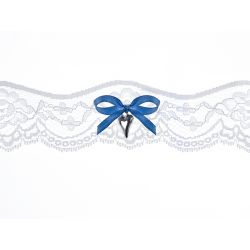 Čipkový podväzok s modrou mašličkou