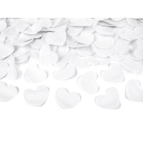 Vystreľovacie konfety srdcia 40cm - biela farba