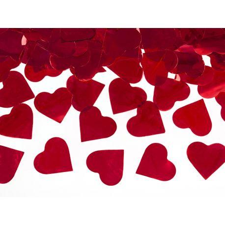 Vystreľovacie konfety srdcia 40cm - červená farba