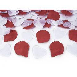 Vystreľovacie konfety (granát) srdcia a lupene - bela a červená farba