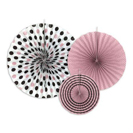 Dekoračné rozety - ružová a čierna farba
