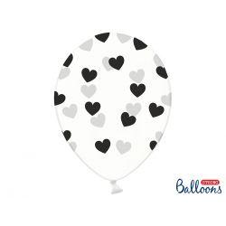 Balón Crystal Clear - čierne srdiečka