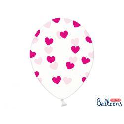 Balón Crystal Clear - fuchsiové srdiečka