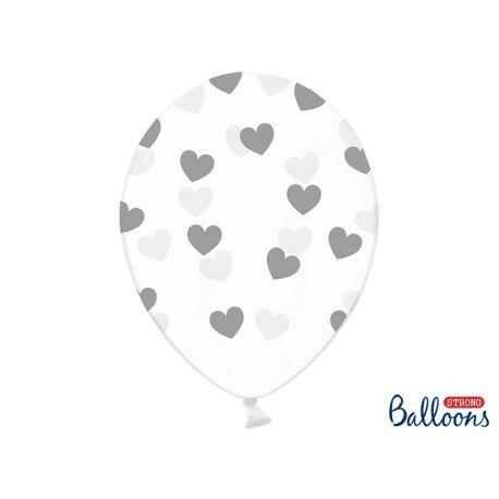 Balón Crystal Clear - strieborné srdiečka