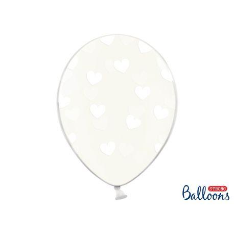 Balón Crystal Clear - biele srdiečka