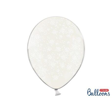 Balón Crystal Clear - biele kvietky