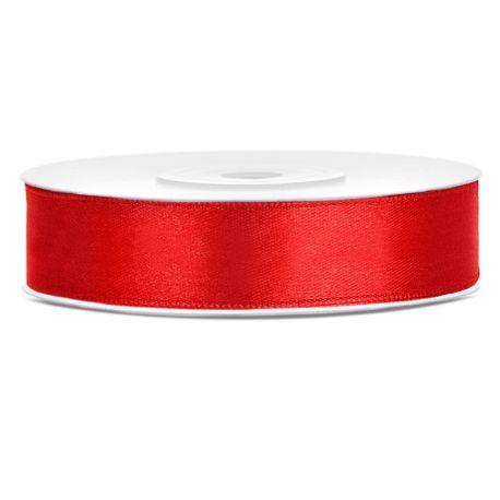 Červená saténová stuha - 12mm/25m