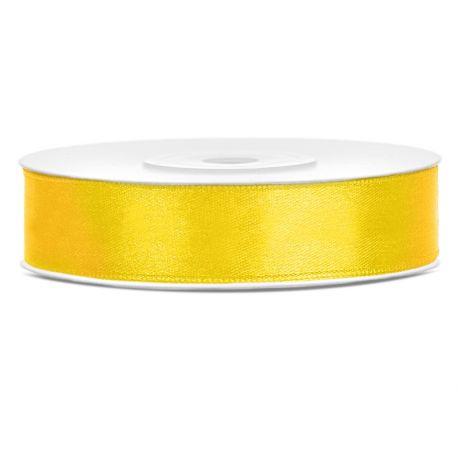 Žltá saténová stuha - 12mm/25m