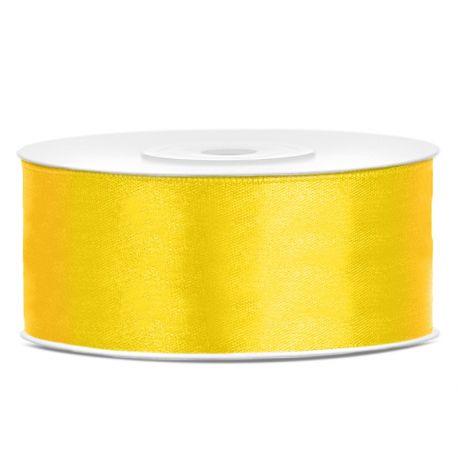 Žltá saténová stuha - 25mm/25m