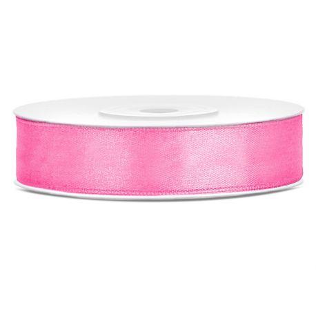 Ružová saténová stuha - 12mm/25m