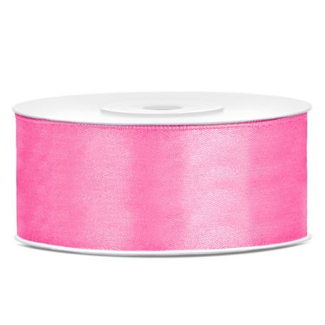 Ružová saténová stuha - 25mm/25m