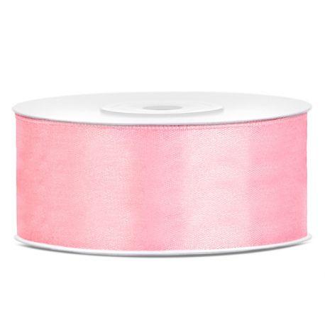 Stuha saténová ružová svetlá - 25mm/25m
