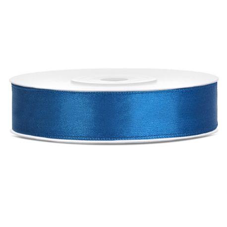 Modrá saténová stuha - 12mm/25m