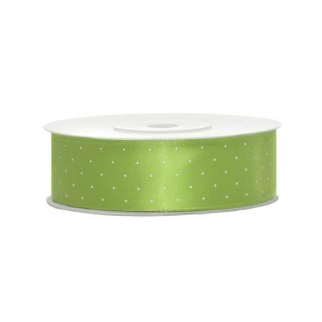 Saténová stuha s bodkami zelenáj ablko 25mm/25m