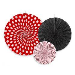 Červené a čierne dekoračné rozety