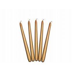 Zlatá kónická sviečka matná- 24cm