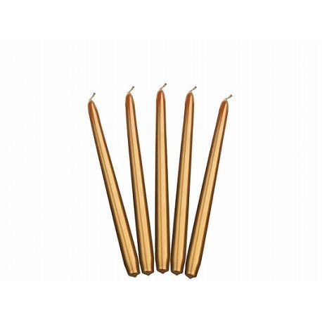 Sviečka kónická zlatá metalická - 24cm