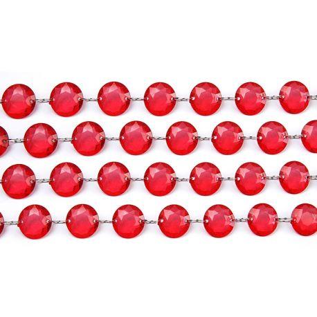 Girlanda kryštálová 1m červená