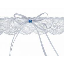 Set 6 - Podvazok na svadbu s modrým kamienkom