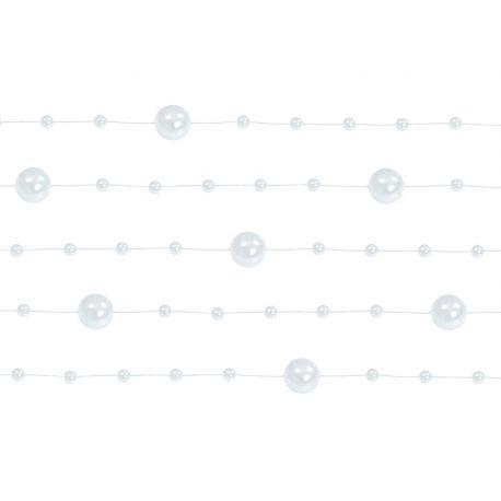 Girlanda perlová 1,3m biela