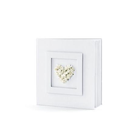 Svadobná kniha hostí s kvetinovým srdcom biela