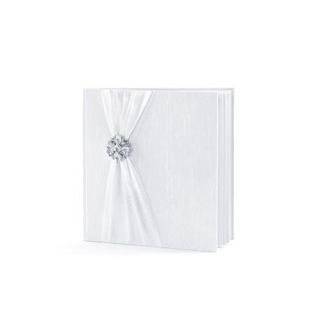 Svadobná kniha hostí so striebornou brošňou
