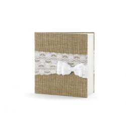 Svadobná kniha hostí vintage jutovinová s čipkou / Svadobná výzdoba