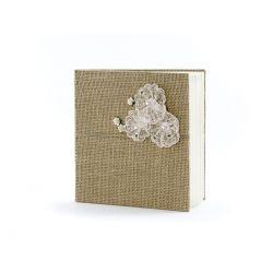 Svadobná kniha hostí vintage juta s kvetmi