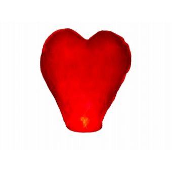 Lietajúci lampión srdce - červená farba
