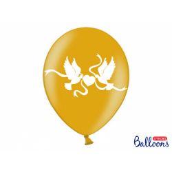 Balón biele holubice Metallic - zlatá farba