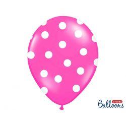 Balón s bodkami Pastel - cyklamenová a biela farba