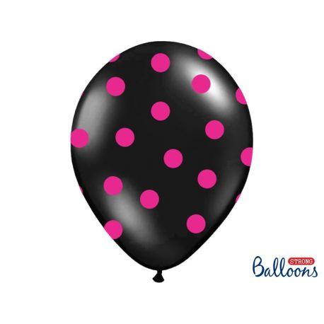 Balón s bodkami Pastel - čierna a ružová farba