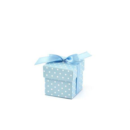 Krabička s bodkami na darčeky pre hostí - modrá farba