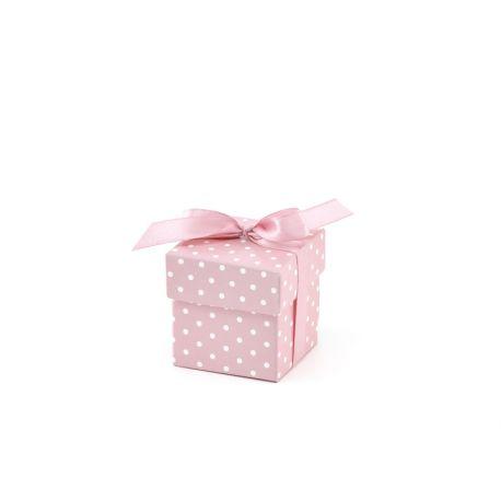 Krabička s bodkami na darčeky pre hostí - ružová farba