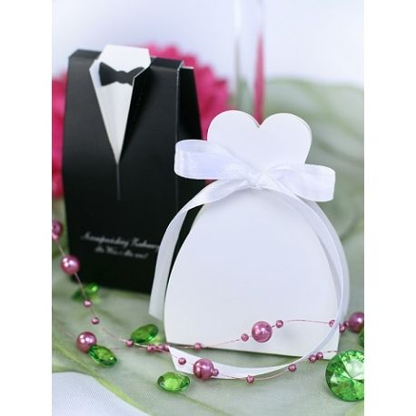 Krabička na darčeky pre hostí - svadobné šaty