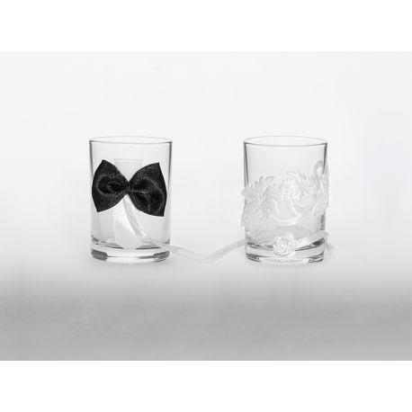 Svadobné poháriky čierna - biela