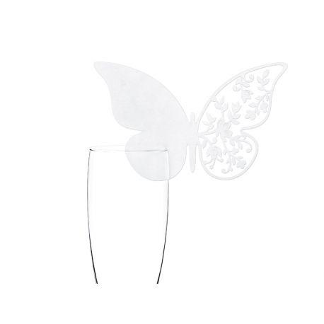 Menovka na pohár motýľ - biela farba