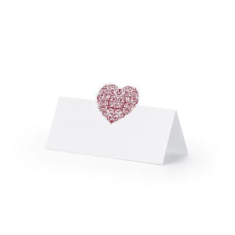 Menovka nstôl - bordové srdce