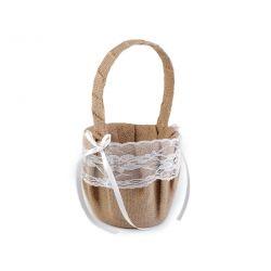 Jutový košík pre družičky s čipkou