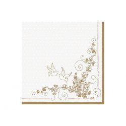 Zlaté papierové obrúsky Holubice - Standard 33cm/20ks