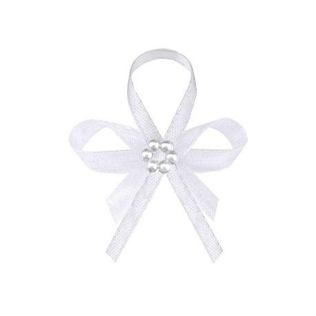 Svadobné pierka pre hostí - biele pierka s perlovým kvietkom