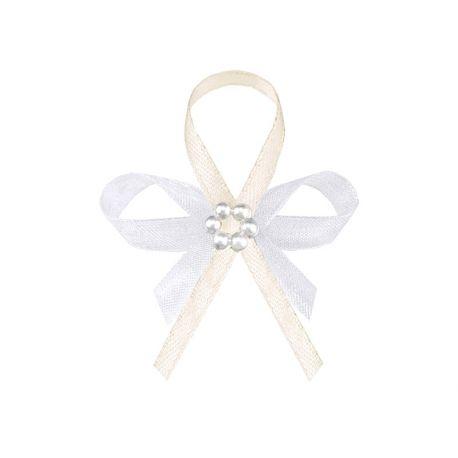 Svadobné pierka pre hostí - krémové pierka s perlovým kvietkom