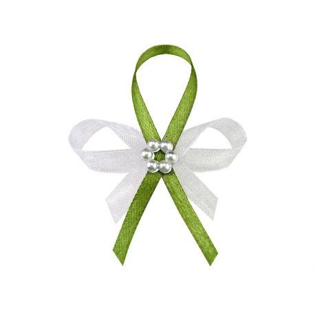 Svadobné pierka pre hostí - zelené pierka s perlovým kvietkom