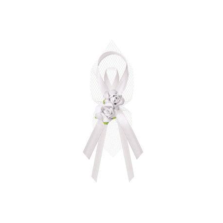 Svadobné pierka pre rodičov - biele pierka s ružami