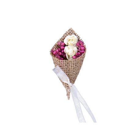 Svadobné pierka pre rodičov - jutové pierka s ružami