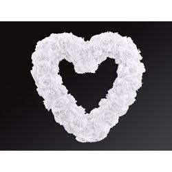 Biele veľké srdce z ruží - 50cm