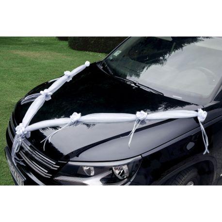 Biela stuha s ružami na výzdobu auta