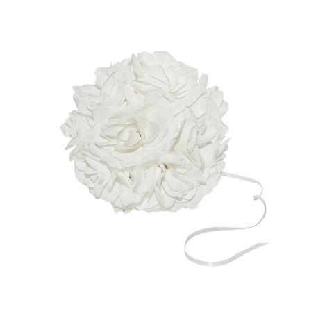 Biela dekoračná guľa z ruží - 15cm