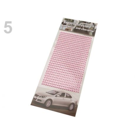 Samolepiace ružové kamienky kryštáľ - 4mm