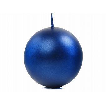 Sviečka guľa modrá metalická